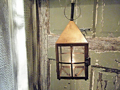 Brass Light Fixture Hanging Antique Patina Candle Oil Gas Lantern 17th Century