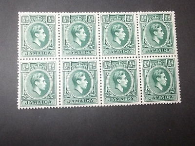 jamaica kgv1. half-penny blue-green block of 8.