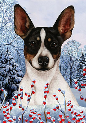 Large Indoor/Outdoor Winter Flag - Tri Rat Terrier 15324