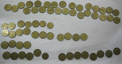 Large Collection of Jetons or Tokens (64 tokens)