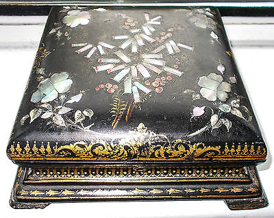 Victorian Papier Mache  playing cards / games Box decorated with Mother of Pearl