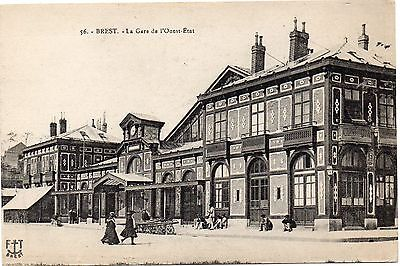 Old French Railway Postcard Railway Station Brest Unposted