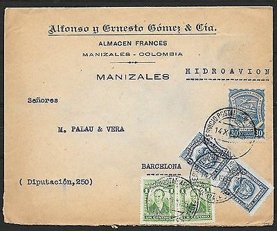 Colombia covers 1925 SCADTA Airmailcover to Barcelona