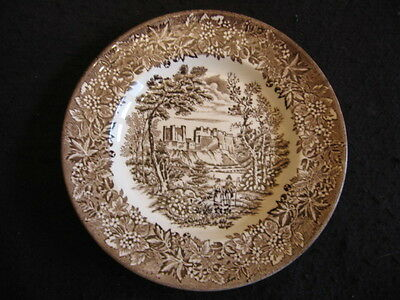 "Vintage English Ironstone 'castles' Brown Transfer 7.5"" Dessert Plate 1936-56 Ex"