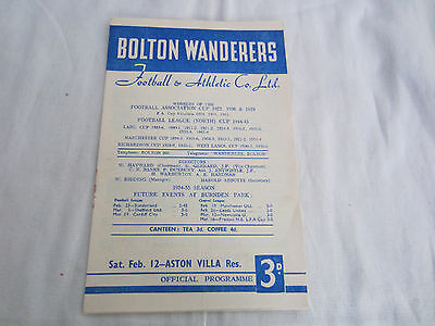 1954-55 CENTRAL LEAGUE RESERVES BOLTON WANDERERS v ASTON VILLA