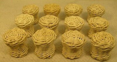 10 Vintage Wicker Knobs Pull Cabinet Furniture Hardware