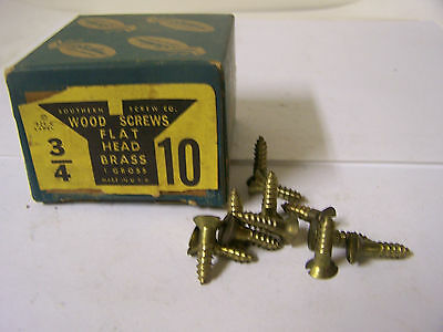 "#10 x 3/4"" Flat Head Solid Brass Wood Screws Slotted Made in USA Qty. 144"