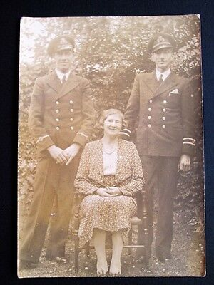 ROYAL NAVY OFFICERS & THEIR PROUD MOTHER - REAL PHOTO POSTCARD (1920s/30s)