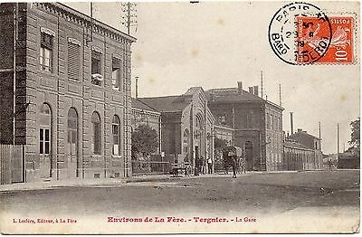 Old French Railway Postcard Railway Station Teugnieu Posted 1909