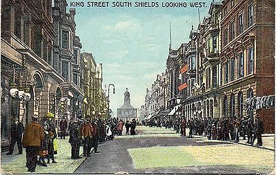 Old Postcard King St. South Shields Posted 1906 With Tyne Docks B.o P.mark