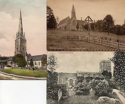 3 Old Postcards Linton Church, Petworth Church & Woodchester 1 Posted 1910