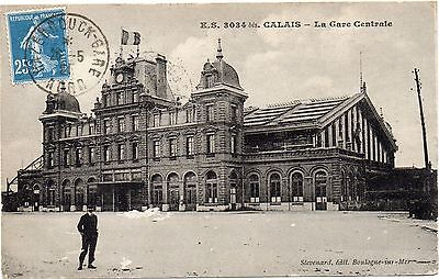 Old French Railway Postcard Railway Station Calais Posted 1921