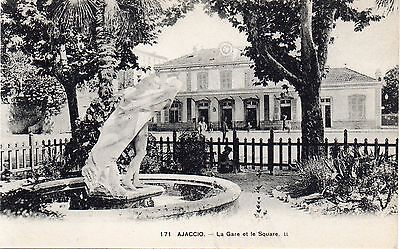 Old French Railway Postcard The Railway Station Ajaccio Unposted