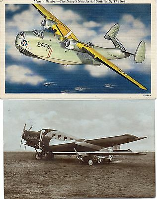 2 Old Postcards  Aircraft Martin Bomber Posted 1946 & Junkers  Plane Posted 1925