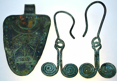 Roman Bronze Spiral Earrings and Roman Bronze Bull Pendant Amulet Set