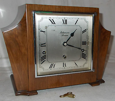 Quality SQUARE DIAL Mantel CLOCK With WESTMINSTER CHIME & Key J.W Benson LONDON