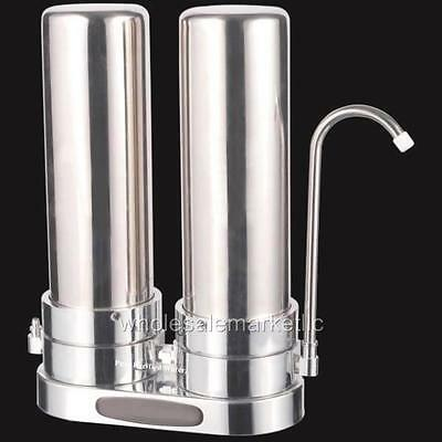 Countertop Water Filter Stainless Steel Home Purifier w/ Carbon Block & Sediment