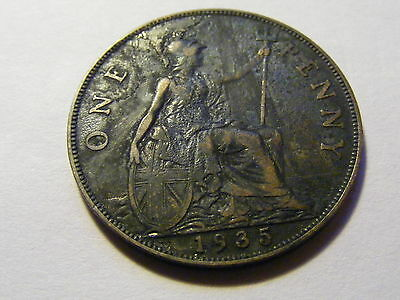 1935 George V One Penny Coin -  Good Condition - 31mm Dia