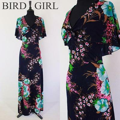 Bold Floral Print 1970S Vintage Navy Blue Jersey Attached Shawl Maxi Dress 10 S