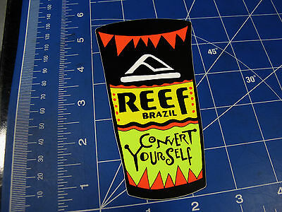 vtg* 1980's Reef surf sticker convert yourself cup