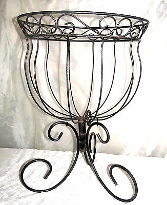 Huge Vintage MCM Scrolled Basket Planter Wrought Wire Metal Patio Plant Stand