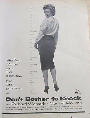 Marilyn Monroe, Don't Bother to Knock, Full Page Vintage Promotional Ad