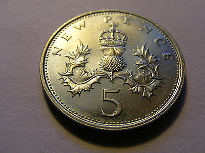 """1971 New """"Large"""" 5 Pence Coin -  UNC"""