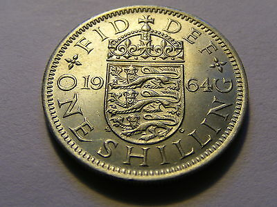 1964 English One Shilling Coin -  UNC