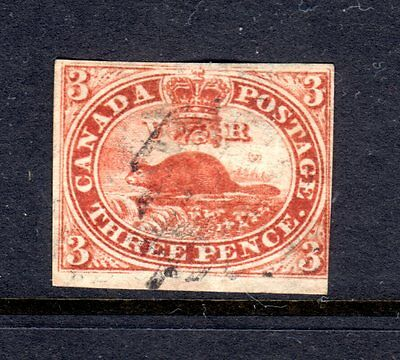 1852 Canada 3P Red Beaver Used