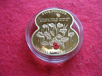 Guernsey 2011 Gold Plated Proof 5 Pound Poppy With Certificate