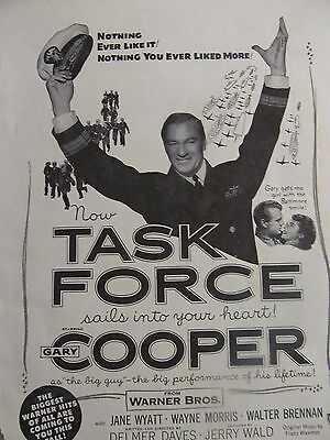 Task Force, Gary Cooper, Full Page Vintage Promotional Ad