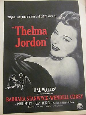 The File on Thelma Jordon, Barbara Stanwyck, Full Page Vintage Promotional Ad