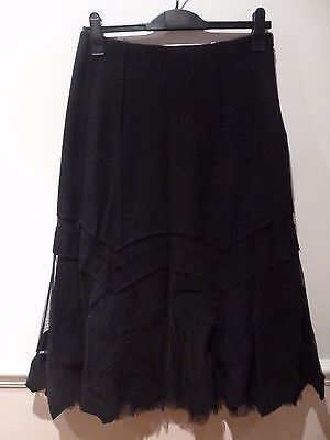 Zapa 100% wool  long black skirt with mesh applique hem size 12