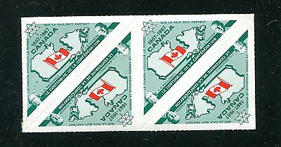 Vintage Poster Stamp Label block of 4 CANADA CENTENARY Confederation 1967 french