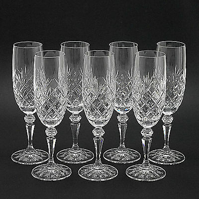 Seven Galway 'Old Clare' Irish Crystal Champagne Flutes/Glasses (1980s/90s)