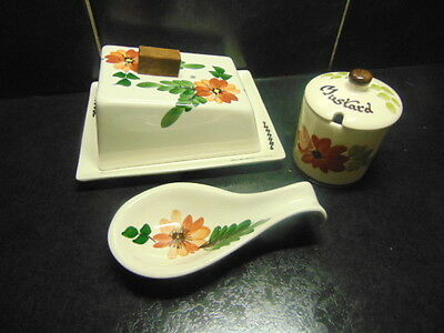 Toni Raymond retro Butter Dish, Spoon Rest and Mustard Pot