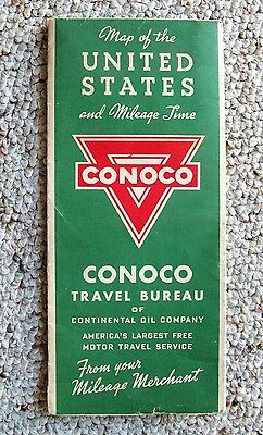 1938 United States Road Map CONOCO Gas Oil Route 66 and All Other Old Roads