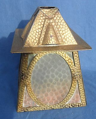 Antique Beaten Brass Porch or Hall Lampshade with Glass Panels