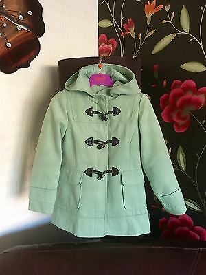 Girls Next Coat Age 7-8 Mint Green Duffle Hooded Warm Lovely On