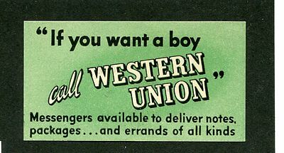 "Vintage Poster Stamp Label WESTERN UNION ""If you want a boy"" telegram"
