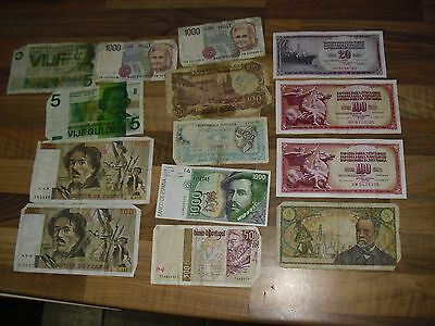 Banknotes of Europe - Lot of 14 Used Pre-Euro Notes