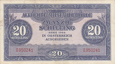 20 Schilling From Allied Military 1944 In Austria!! Very Fine Banknote!pick-107!