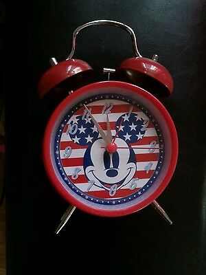 Vintage Disney Mickey Mouse Wind Up Alarm Clock Red white blue patriotic