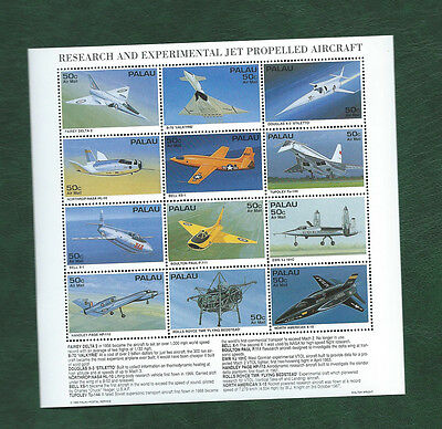 USA Palau 1995 Jet propelled aircraft sheetlet of 12 different MNH