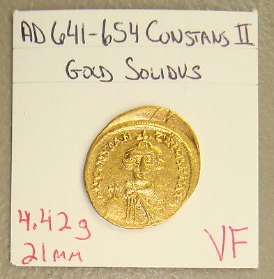 AD 641-654 Constans II Ancient Byzantine Gold Solidus VF