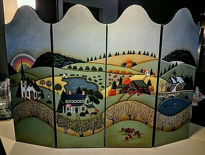 Hand Painted Wood Fireplace 4 Panel Cover, Hillside Scenery Embossed Guc.