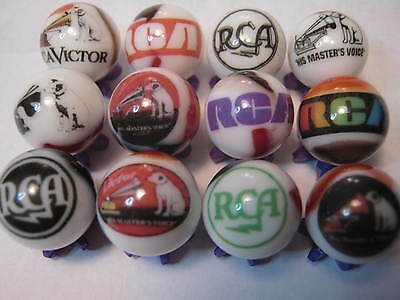 RCA VICTOR NIPPER DOG ECT.. GLASS MARBLES COLLECTION LOT  5/8  SIZE + stands
