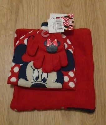 Baby Girls Minnie Mouse Red & Blue Hat, Gloves & Scarf BNWT