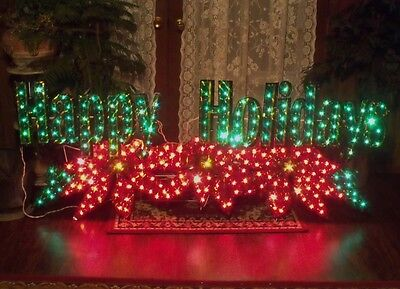 "6' 72"" Huge Outdoor Lighted Holographic Happy Holidays Merry Christmas Sign Yard"