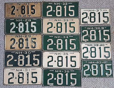 NEW HAMPSHIRE NH Run ~ 14 Years, Same Number License Plates ~ 2-815